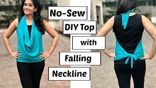 No-Sew DIY: Stylish Top with Falling Neckline in 5 minutes | Easy No-Sew DIY