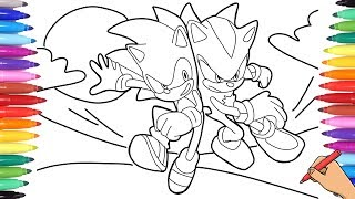 SONIC THE HEDGEHOG VS SHADOW THE HEDGEHOG COLORING PAGES - SONIC THE HEDGEHOG MOVIE 2020