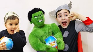 Super hero Hasouna and celina Kinder egg - سيلينا وحسونة