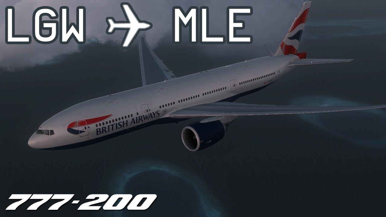 [FSX] London Gatwick to Malé | BAW2043 | British Airways | PMDG 777-200 |  IVAO