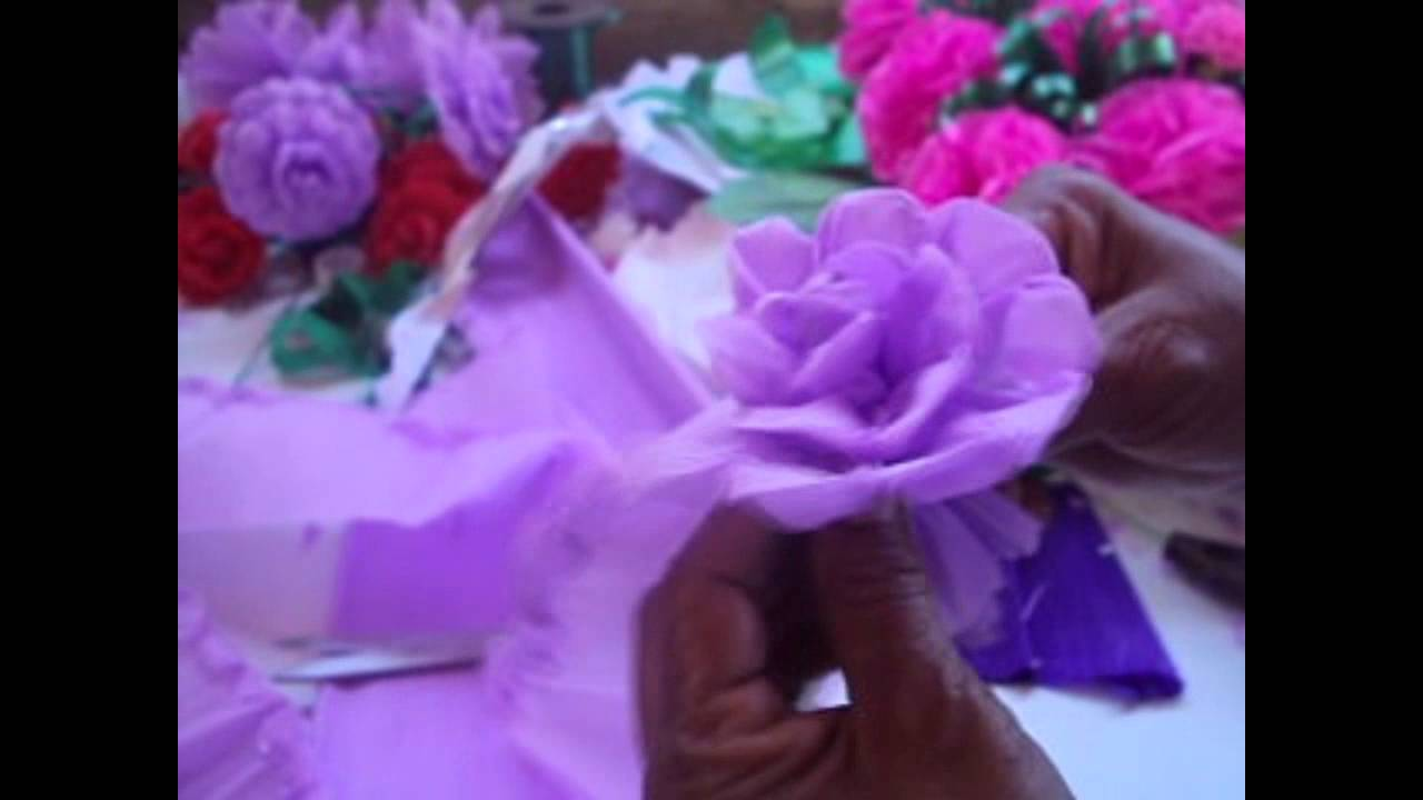 Como hacer una flor de papel crepe how to make paper - Videos de como hacer crepes ...