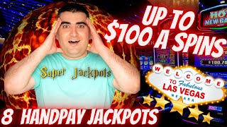 Up To $100 A Sṗin Slot Play & 8 HANDPAY JACKPOTS On High Limit Slot Machines During LIVE STREAM