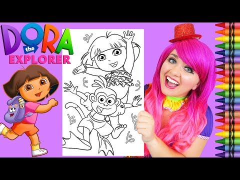 Coloring Dora The Explorer & Boots Summer GIANT Coloring Page Crayola Crayons | KiMMi THE CLOWN