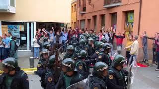 Càrrega Guàrdia Civil a Sant Iscle de Vallalta contra el referèndum de Catalunya