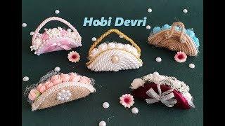 DIY,Making Flower Bag with Jar Cap,Flower Basket,Wedding Favors,Kavanoz Kapaklarından Sepet Yapımı
