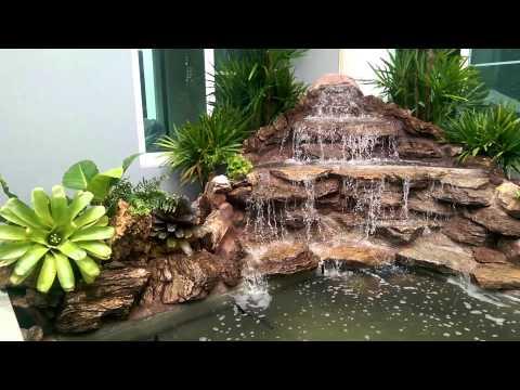น้ำตกจำจองในสวน น้ำตกจัดสวน น้ำตกบ่อปลา น้ำตกจำลอง
