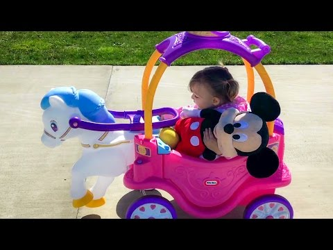 Thumbnail: Princess Horse Carriage Cozy Coupe Ride On | Little Girl Playing With Disney Junior Mickey Mouse