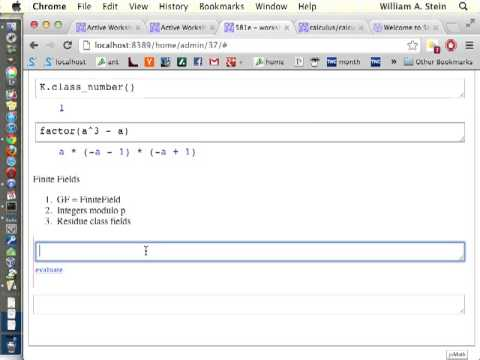 Tutorial on Using Sage for Algebraic Number Theory at University of Washington