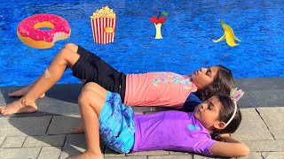 Deema and Sally pretend play swimming in the pool stories