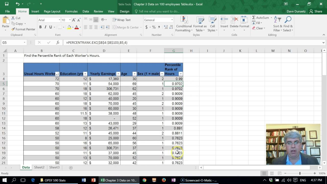 How to Calculate the Percentile Rank of Scores using Excel 2016 for Windows