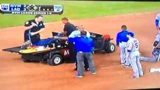 Big Baseball Collision Injury Ruben Tejada hit by Chase Utley Mets Dodgers nlds 2015