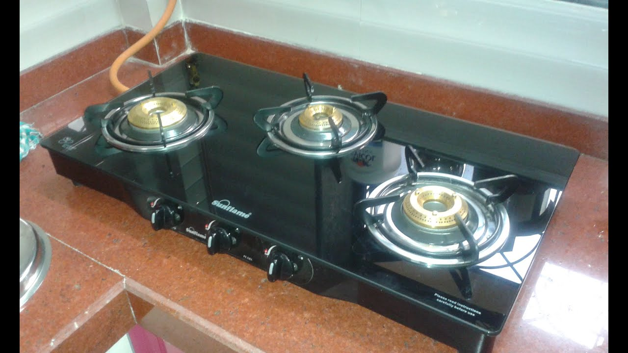 kitchen stove gas backspash sunflame glass top 3 burner pearl overview review starcj com indian consumer youtube