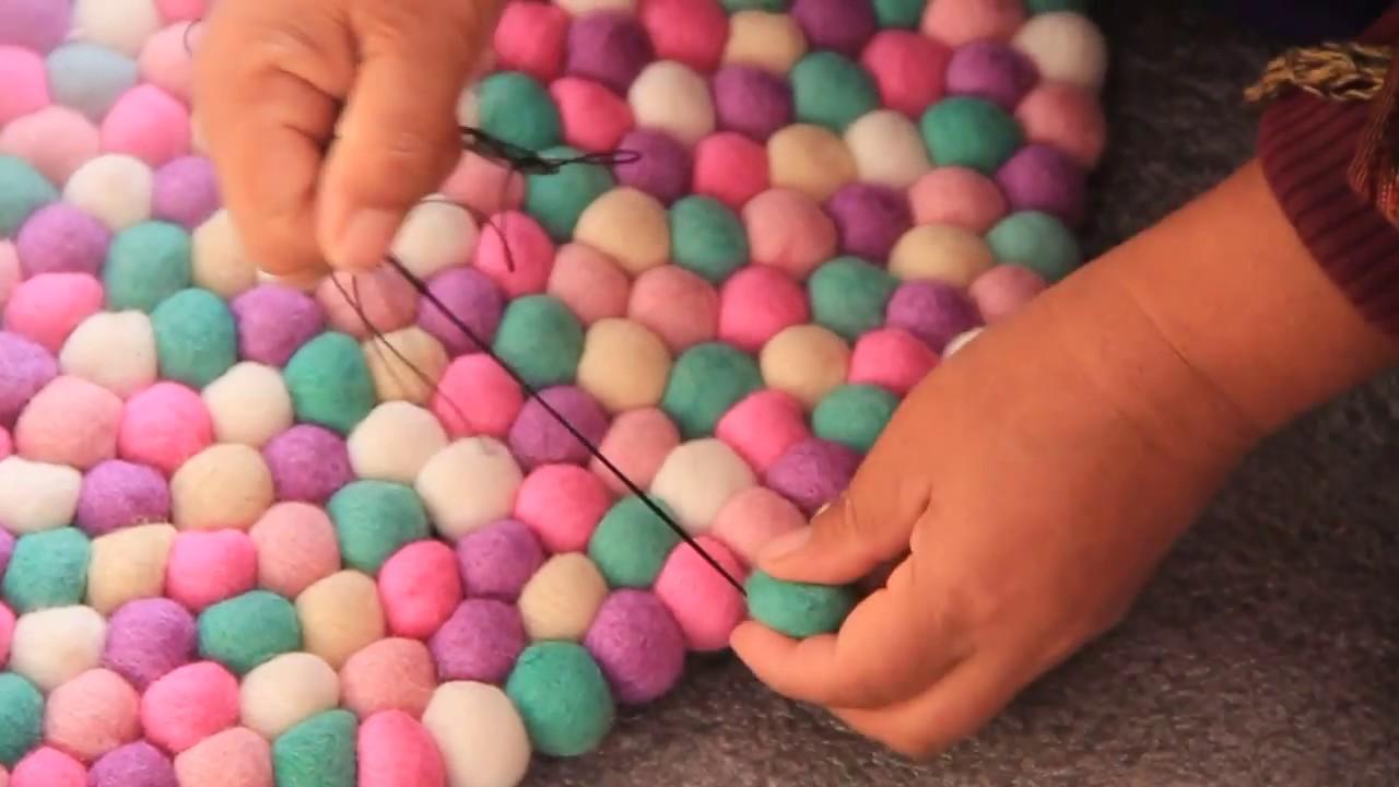 How to make mint felt ball rug. - YouTube