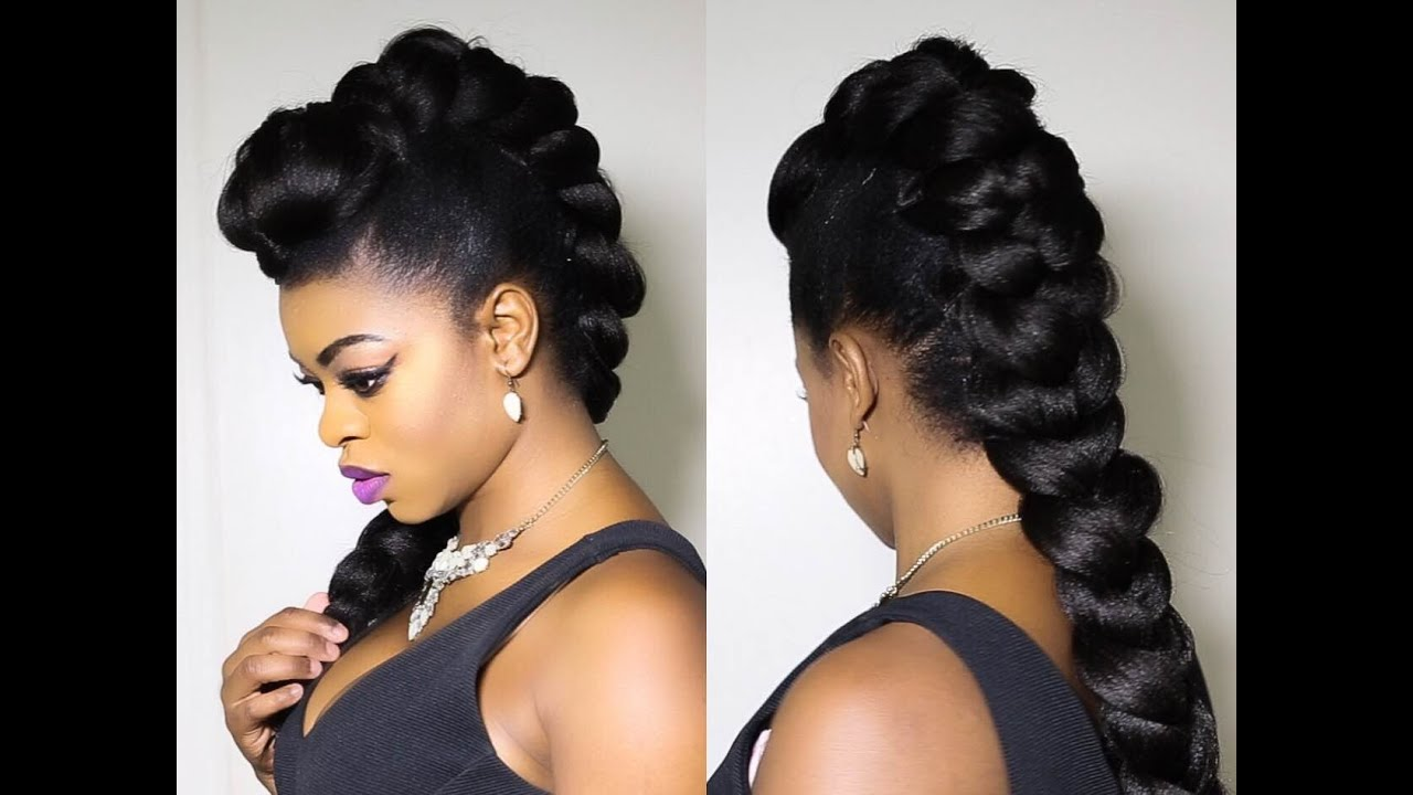 Faux Braided Mohawk on Natural Hair!!!!!! - YouTube