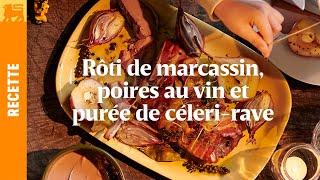 Rôti de marcassin, poires au vin et purée de céleri-rave