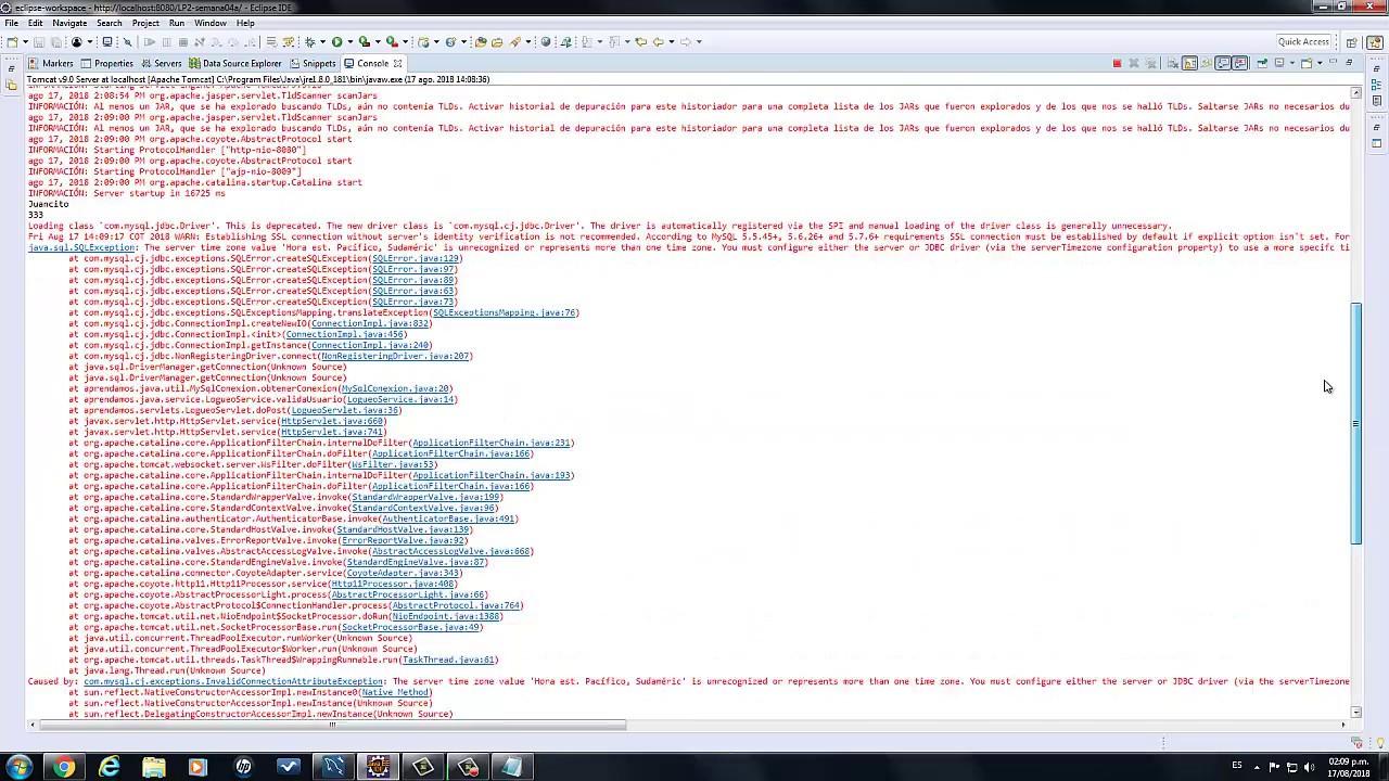 Conectando A Mysql 8 0 Loading Class Deprecated Server Time Zone