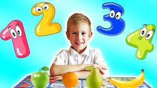 Funny Child Learns At School! Counting With Toys