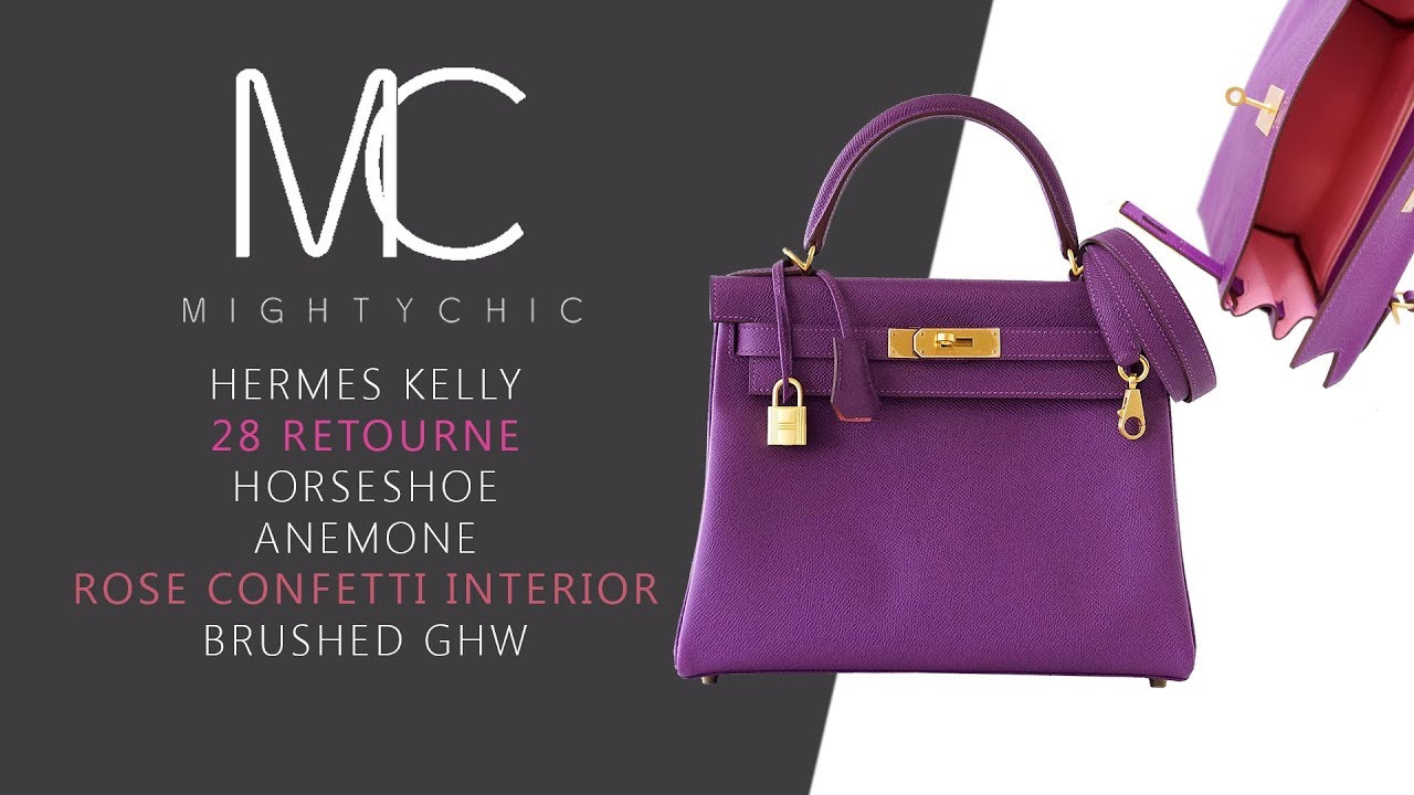 d13f322471a8 MIGHTYCHIC • Hermes Kelly 28 Retourne Horseshoe Anemone Brushed GHWl ...