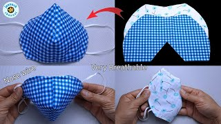 New Pattern Face Mask Sewing Tutorial NO FOG ON GLASSES DIY Face Mask Easy Pattern Mask 3D