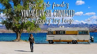 Solo Female Converts Vintage RV Into a Stunning Tiny House