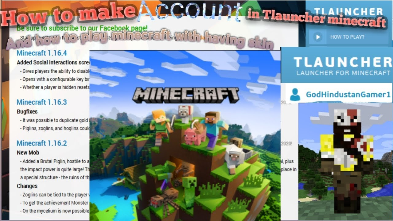 How to make an account and download skin in tlauncher minecraft