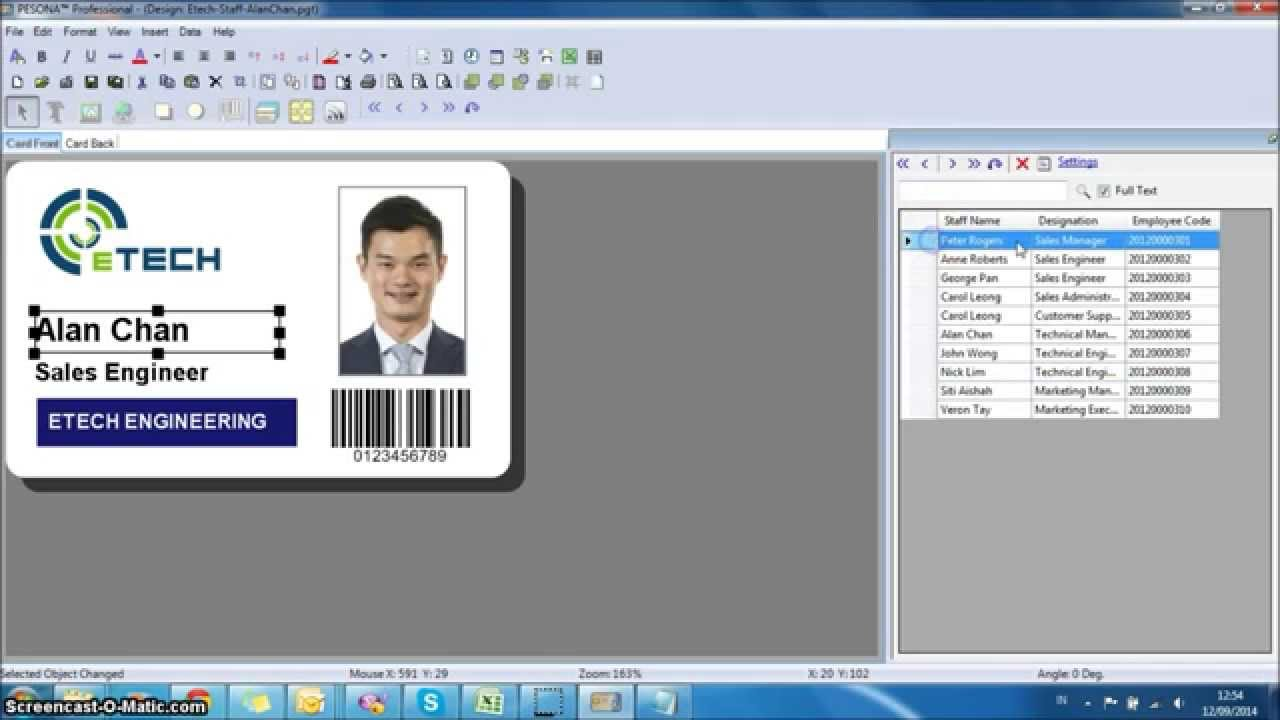 Database linking all id pesona card design software for Blueprint software download