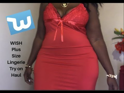 159b6a71f99 WISH APP Plus Size Lingerie Try on Haul - YouTube
