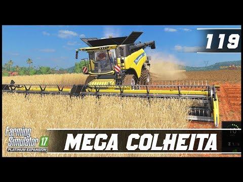 MEGA COLHEITA DE TRIGO COM A CR10.90 | FARMING SIMULATOR 17 PLATINUM EDITION #119 [PT-BR]