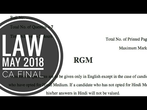 Law May 2018 paper CA Final | Lengthy & Tough | What's next & Quick Review In Description |