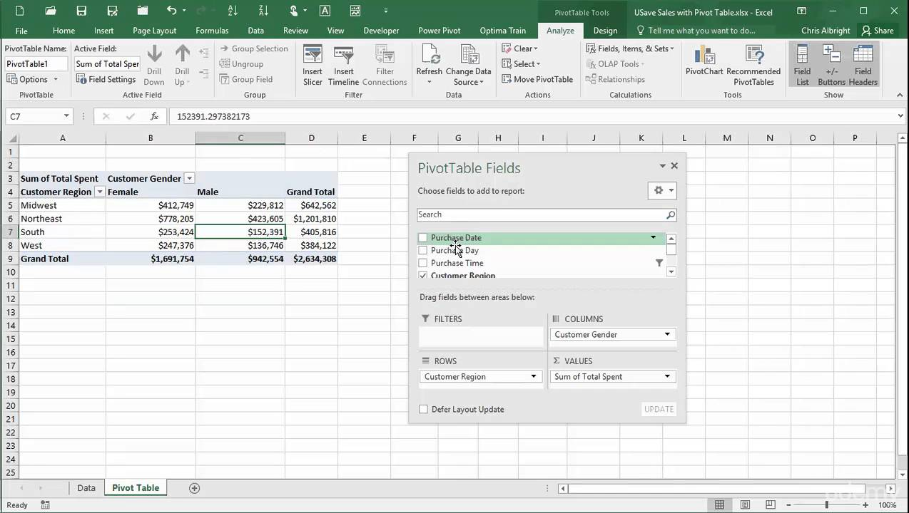 Pivot Table Fields Pane Options
