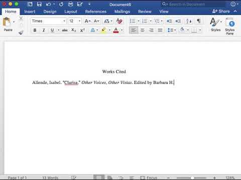 MLA Works Cited Book Entry  Anthology