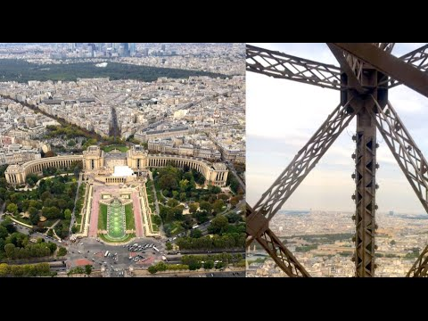 eiffel tower elevator ride with top view 4k high. Black Bedroom Furniture Sets. Home Design Ideas