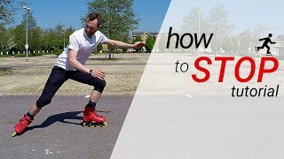 How to stop oฑ inline skates / rollerblades - 3 stops for beginners tutorial