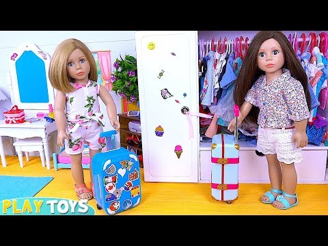Bonnie Pearl Pack Doll Clothes in Travel Suitcase Bedroom!
