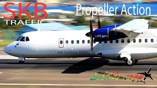 propeller action liat atr 72 winair twin otter seaborne saab 340 in action st kitts airport