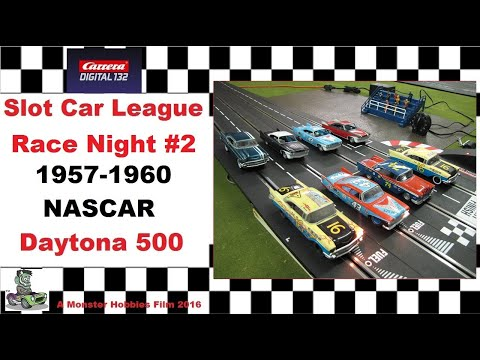 Carrera Slot Car 1957-1960 NASCAR Daytona 500 Qualifier #2 race night.