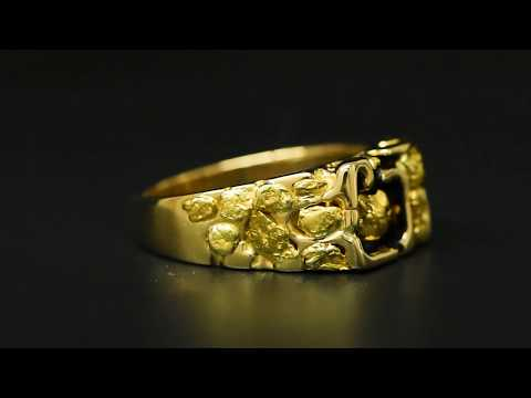 """Gold Nugget Men's Ring """"Orocal"""" RM176 Genuine Hand Crafted Jewelry - 14K Casting"""
