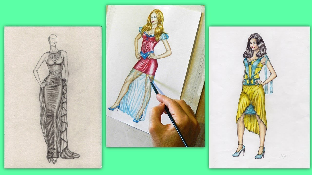 Haute couture fashion designs hand drawn and hand painted - YouTube