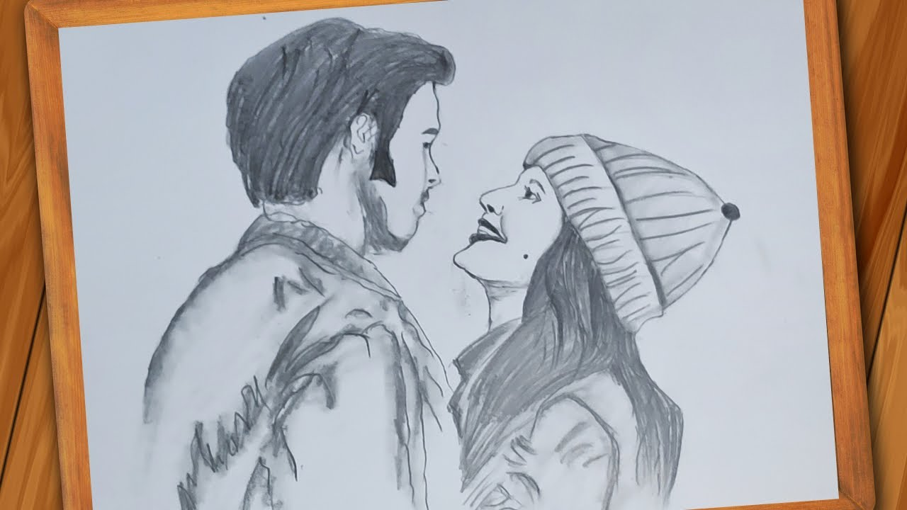 How To Draw Happy Couple For Beginners Step By Step Pencil Sketch Easy Drawing Youtube