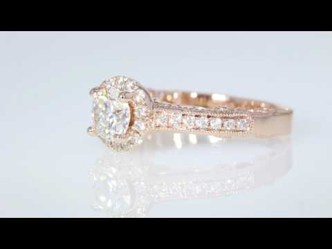1.18ct Round Brilliant Diamond Halo Rose Gold Halo Engagement Ring