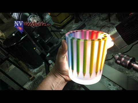 Woodturning: The Colored Pencil Jar | Dunkin Junk