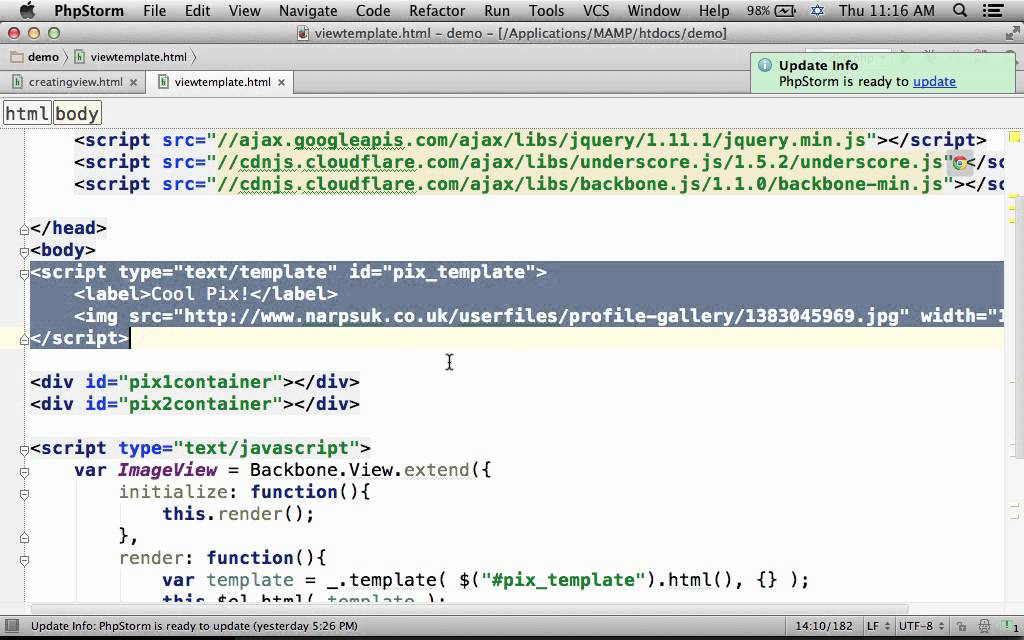 creating view with template in backbone js youtube