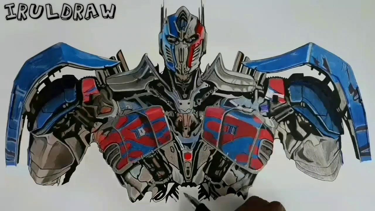 Drawing Optimus Prime Transformers The Last Knightmenggambar