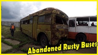 Old Abandoned Rusty Buses Exploring 2018. Creepy Forgotten Soviet Buses. Lost Vehicles