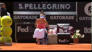 Ball Boy trips behind Maria Sharapova