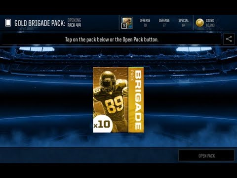 Gold Brigade Pack Opening Madden Mobile Tournament Reward Pack Opening