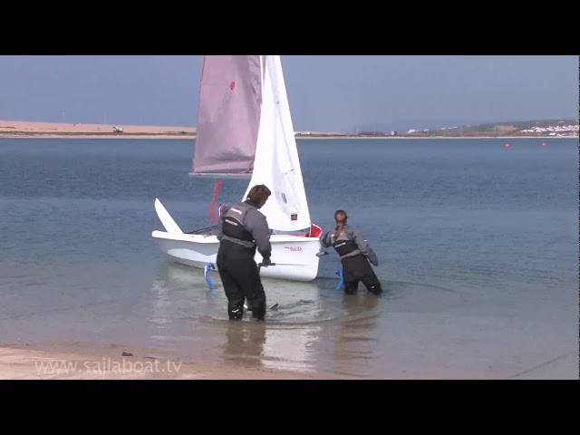 How to Sail - Beach launching a 2 person boat
