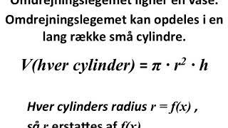 cylinders volumen og omdrejningslegme omkring x aksen