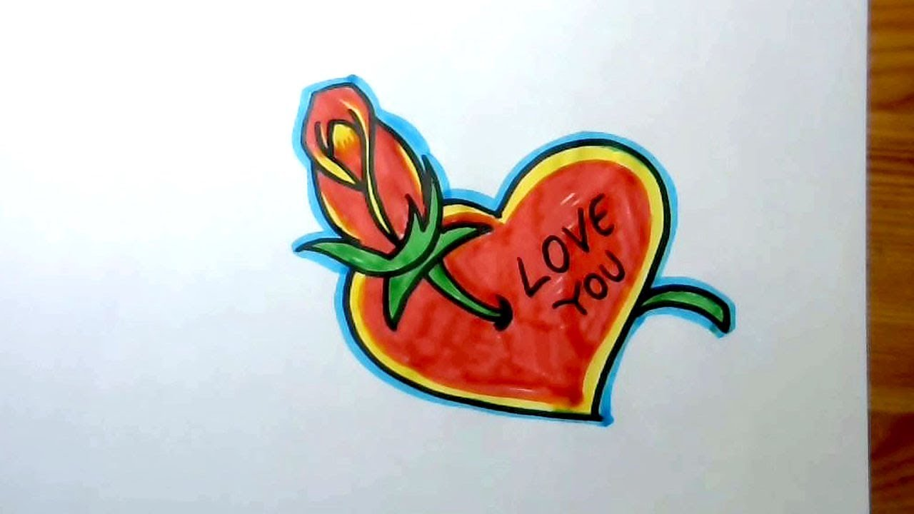 How to draw a beautiful heart and rose love drawing