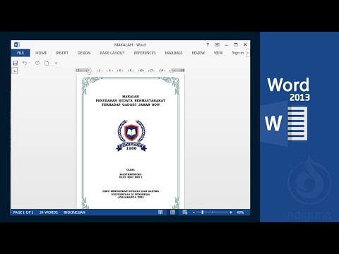 Cara Membuat Cover Makalah Di Microsoft Office 2013 Youtube